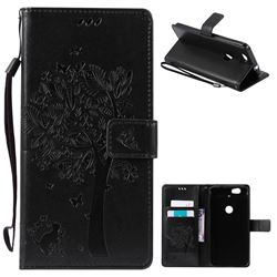 Embossing Butterfly Tree Leather Wallet Case for Huawei Nexus 6P - Black