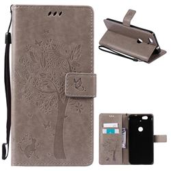 Embossing Butterfly Tree Leather Wallet Case for Huawei Nexus 6P - Grey