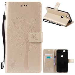 Embossing Butterfly Tree Leather Wallet Case for Huawei Nexus 6P - Champagne