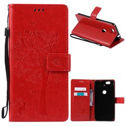 Embossing Butterfly Tree Leather Wallet Case for Huawei Nexus 6P - Red
