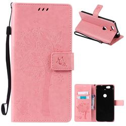 Embossing Butterfly Tree Leather Wallet Case for Huawei Nexus 6P - Pink