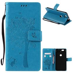 Embossing Butterfly Tree Leather Wallet Case for Huawei Nexus 6P - Blue