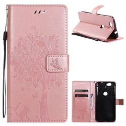 Embossing Butterfly Tree Leather Wallet Case for Google Nexus 6P - Rose Pink