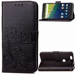 Embossing Imprint Four-Leaf Clover Leather Wallet Case for Huawei Nexus 6P - Black