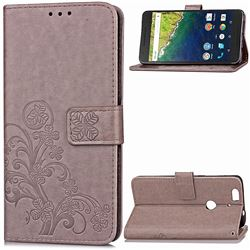 Embossing Imprint Four-Leaf Clover Leather Wallet Case for Huawei Nexus 6P - Gray