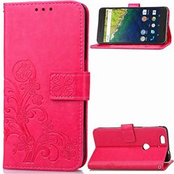 Embossing Imprint Four-Leaf Clover Leather Wallet Case for Huawei Nexus 6P - Rose