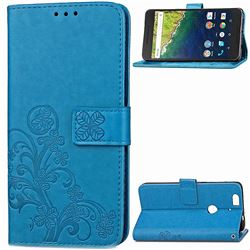 Embossing Imprint Four-Leaf Clover Leather Wallet Case for Huawei Nexus 6P - Blue