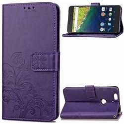 Embossing Imprint Four-Leaf Clover Leather Wallet Case for Huawei Nexus 6P - Purple