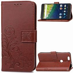 Embossing Imprint Four-Leaf Clover Leather Wallet Case for Huawei Nexus 6P - Brown