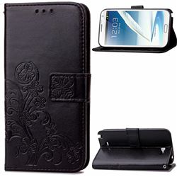 Embossing Imprint Four-Leaf Clover Leather Wallet Case for Samsung Galaxy Note 2 N7100 - Black