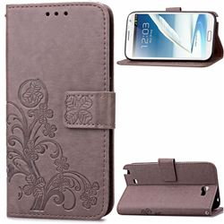Embossing Imprint Four-Leaf Clover Leather Wallet Case for Samsung Galaxy Note 2 N7100 - Gray