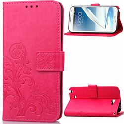 Embossing Imprint Four-Leaf Clover Leather Wallet Case for Samsung Galaxy Note 2 N7100 - Rose