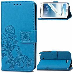 Embossing Imprint Four-Leaf Clover Leather Wallet Case for Samsung Galaxy Note 2 N7100 - Blue