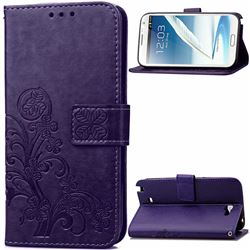 Embossing Imprint Four-Leaf Clover Leather Wallet Case for Samsung Galaxy Note 2 N7100 - Purple