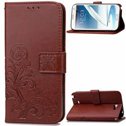 Embossing Imprint Four-Leaf Clover Leather Wallet Case for Samsung Galaxy Note 2 N7100 - Brown
