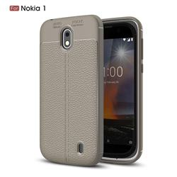 Luxury Auto Focus Litchi Texture Silicone TPU Back Cover for Nokia 1 - Gray