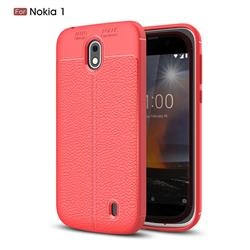 Luxury Auto Focus Litchi Texture Silicone TPU Back Cover for Nokia 1 - Red