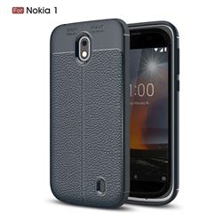 Luxury Auto Focus Litchi Texture Silicone TPU Back Cover for Nokia 1 - Dark Blue