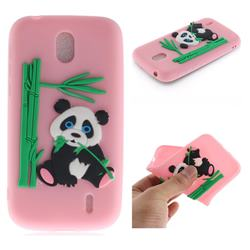 Panda Eating Bamboo Soft 3D Silicone Case for Nokia 1 - Pink