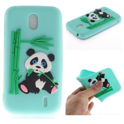 Panda Eating Bamboo Soft 3D Silicone Case for Nokia 1 - Green