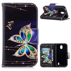 Golden Shining Butterfly Leather Wallet Case for Nokia 1