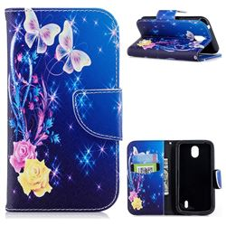 Yellow Flower Butterfly Leather Wallet Case for Nokia 1