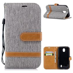 Jeans Cowboy Denim Leather Wallet Case for Nokia 1 - Gray