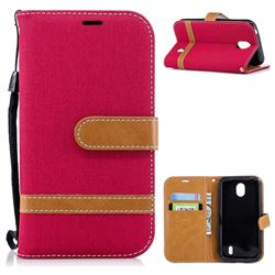 Jeans Cowboy Denim Leather Wallet Case for Nokia 1 - Red