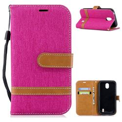 Jeans Cowboy Denim Leather Wallet Case for Nokia 1 - Rose