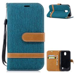 Jeans Cowboy Denim Leather Wallet Case for Nokia 1 - Green