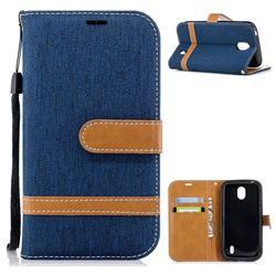 Jeans Cowboy Denim Leather Wallet Case for Nokia 1 - Dark Blue