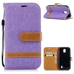 Jeans Cowboy Denim Leather Wallet Case for Nokia 1 - Purple