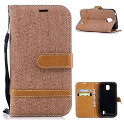 Jeans Cowboy Denim Leather Wallet Case for Nokia 1 - Brown