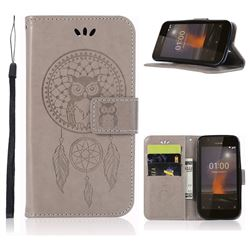 Intricate Embossing Owl Campanula Leather Wallet Case for Nokia 1 - Grey