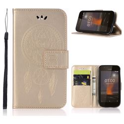 Intricate Embossing Owl Campanula Leather Wallet Case for Nokia 1 - Champagne