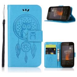 Intricate Embossing Owl Campanula Leather Wallet Case for Nokia 1 - Blue