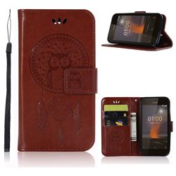 Intricate Embossing Owl Campanula Leather Wallet Case for Nokia 1 - Brown
