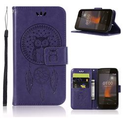 Intricate Embossing Owl Campanula Leather Wallet Case for Nokia 1 - Purple