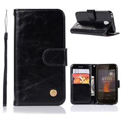 Luxury Retro Leather Wallet Case for Nokia 1 - Black