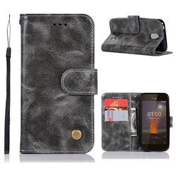 Luxury Retro Leather Wallet Case for Nokia 1 - Gray