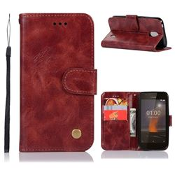 Luxury Retro Leather Wallet Case for Nokia 1 - Wine Red