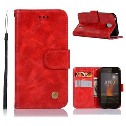 Luxury Retro Leather Wallet Case for Nokia 1 - Red