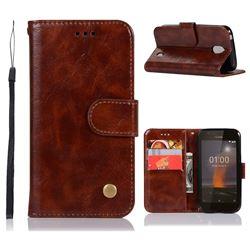 Luxury Retro Leather Wallet Case for Nokia 1 - Brown