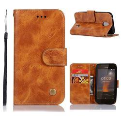 Luxury Retro Leather Wallet Case for Nokia 1 - Golden
