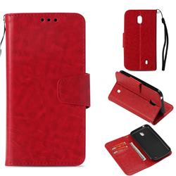 Retro Phantom Smooth PU Leather Wallet Holster Case for Nokia 1 - Red