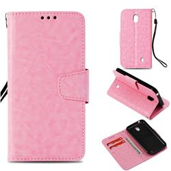 Retro Phantom Smooth PU Leather Wallet Holster Case for Nokia 1 - Pink
