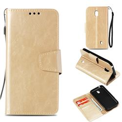 Retro Phantom Smooth PU Leather Wallet Holster Case for Nokia 1 - Champagne