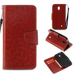 Retro Phantom Smooth PU Leather Wallet Holster Case for Nokia 1 - Brown