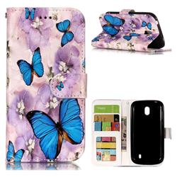 Purple Flowers Butterfly 3D Relief Oil PU Leather Wallet Case for Nokia 1