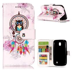 Wind Chimes Owl 3D Relief Oil PU Leather Wallet Case for Nokia 1